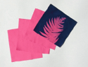 "6"" x 6"" cyanotype cotton squares (raspberry)"